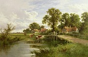 Farmhouse Paintings - On the Thames near Marlow by On the Thames near Marlow