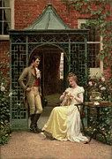 Lattice Painting Metal Prints - On the Threshold Metal Print by Edmund Blair Leighton