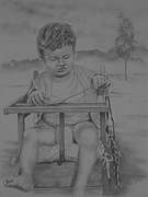 Chair Drawings - On The Throne by Michael S Dooley sr