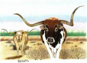 Longhorn Drawings Posters - On the trail Poster by Sharon Blanchard