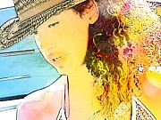Sun Hat Digital Art Posters - On the Water Poster by Cindy Edwards