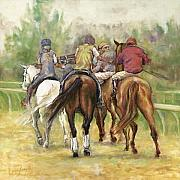 Jockey Paintings - On the Way by Leisa Temple