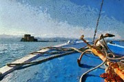 Boat Paintings - On the way to Bourtzi by George Atsametakis