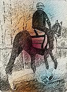 Jockey Art - On The Way To The Workout by Arline Wagner