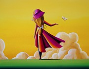 Girl Paintings - On The Wings Of A Dove by Cindy Thornton