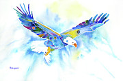 Bald Eagle Painting Framed Prints - On the Wings of an Eagle Framed Print by Jo Lynch