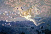 Fantasy Landscape With Figure Prints - On the Wings of the Morning Print by Edward Robert Hughes