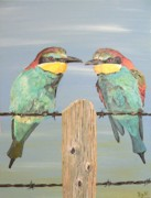 Acrylic On Canvas - On The Wire Bee-eaters by Eric Kempson