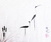 Sumi-e Paintings - On Typha Pond by Oiyee  At Oystudio