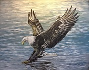 Reflections Of Sun In Water Prints - On wings of eagles Print by Cecilia Putter