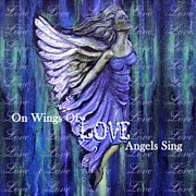 Affirmation Mixed Media Posters - On Wings Of Love Angels Sing Poster by The Art With A Heart By Charlotte Phillips