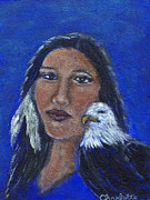 Charlotte Painting Prints - Onawa Native American Woman of Wisdom Print by The Art With A Heart By Charlotte Phillips