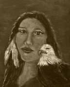 Spiritual Portrait Of Woman Prints - Onawa Native American Woman of Wisdom with Eagle In Sepia Print by The Art With A Heart By Charlotte Phillips