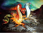Reptiles Painting Prints - Once Bitten Print by Penny Golledge