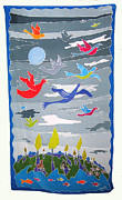 Sun Tapestries - Textiles Prints - Once In A Blue Moon Print by Rollin Kocsis