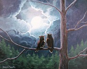 Great-horned Owls Paintings - Once Upon A Full Moon by Sharon Marcella Marston