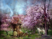 Unicorn Posters - Once Upon A Springtime Poster by Carol Cavalaris