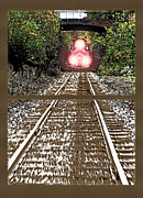 Old England Mixed Media Prints - Oncoming Train Diptych Print by Steve Ohlsen