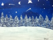 Snowy Night Paintings - One Beautiful Night by Jonathan Ford