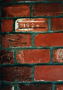 Brick Walls Prints - One Brick To Remember - 1924 Date Stone Print by Steven Milner
