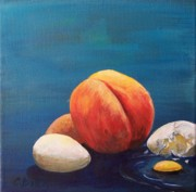 Peaches Painting Prints - One Brown Egg Print by Colleen Birch
