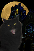 Cat Mixed Media Prints - One Dark Halloween Night Print by Shane Bechler
