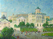Russia Paintings - One day in Moscow by Juliya Zhukova