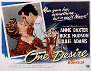 1955 Movies Prints - One Desire, Anne Baxter, Rock Hudson Print by Everett