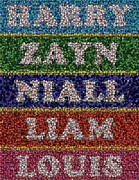Montage Mixed Media - One Direction Names Bottle Cap Mosaic by Paul Van Scott
