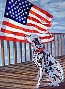 Patriotism Paintings - One Dog Salute by Gail Zavala