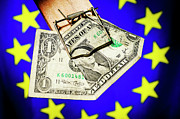 Dollar Bill Posters - One dollar bill in mousetrap on European Union Flag Poster by Sami Sarkis