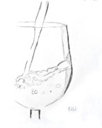 Wine-glass Drawings Prints - One drink behind without quote Print by Rebecca Wood