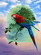 Macaw Painting Framed Prints - One Earth Two Worlds Framed Print by Mark Mittlesteadt