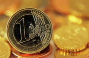 Saving Prints - One Euro coin standing-up amongst other Euro coins Print by Sami Sarkis