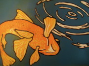 Koi Fish Drawings - One Fish by Emily Jones