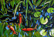 Koi Painting Posters - One Fish Two Fish Redfish Poster by Charlie Spear