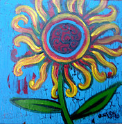 Sunflower Paintings - One Flower by Genevieve Esson