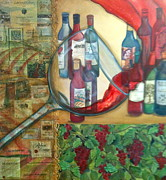 Golds Mixed Media Prints - One Glass Too Many  Print by Debi Pople