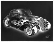 Charcoal Car Posters - One Hot 1936 Chevrolet Coupe Poster by Peter Piatt