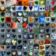 Mosaic Digital Art Prints - One Hundred and One Hearts Print by Boy Sees Hearts