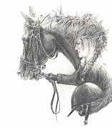 Dressage Drawings - One Intent by Barbara Widmann