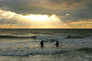 Surf Silhouette Metal Prints - One Last Wave Metal Print by Matt Tilghman