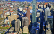 Commercial Real Estate Aerial Photographs Prints - One Logan 1717 Arch Comcast Center Print by Duncan Pearson