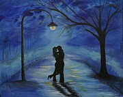 Couple Hugging Paintings - One Love One Lifetime by Leslie Allen