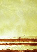Surf Silhouette Metal Prints - One Man And His Gull Metal Print by s0ulsurfing - Jason Swain