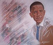 Obama Pastels Posters - One Man With One Voice For One People Poster by Angela Mustin