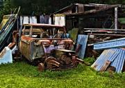 Junk Car Framed Prints - One Mans Trash Framed Print by Patricia Stalter