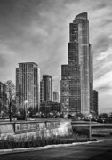 Chicago Black White Posters - One Museum Park Sunset Poster by Donald Schwartz