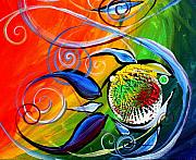 Five Canvas Paintings - One of Five Fish by J Vincent Scarpace