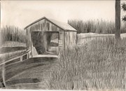 Covered Bridge Paintings - One of New Brunswicks Cover Bridge by Donna Bird
